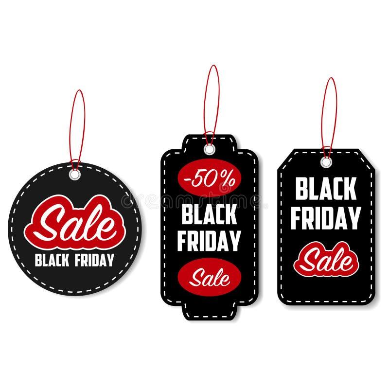 Black Friday-de reeks van de verkoopmarkering Malplaatje voor kortingsetiketten Vector stock illustratie