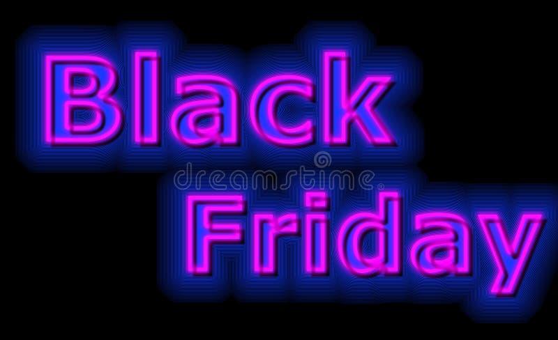 Black Friday-de tellerskleuren van het verkoopneon stock illustratie