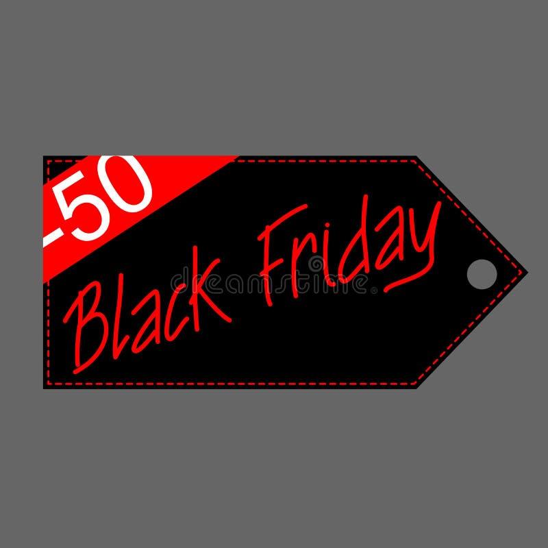 Black Friday-de vector vlakke illustratie van de verkoopmarkering vector illustratie