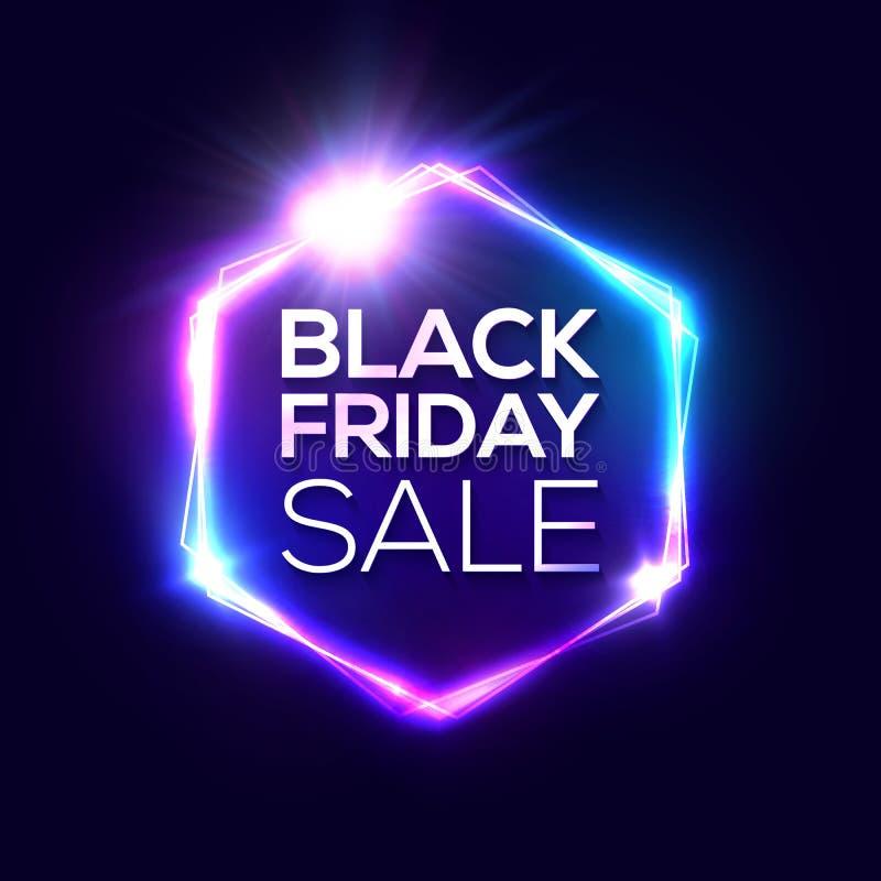 Black Friday design with neon frame. Hexagon logo. vector illustration