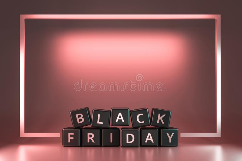 Black friday dice with thanksgiving and christmas concept on pink neon light frame background. Discount and Special offer for sale royalty free illustration