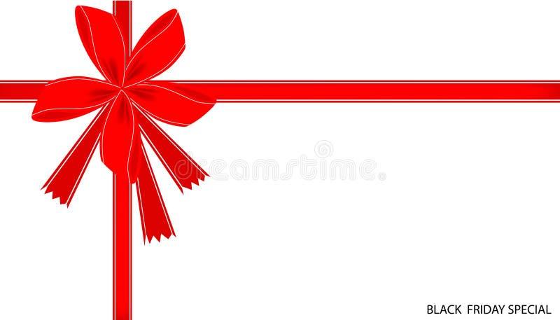 Black Friday dodatku specjalnego karta z Czerwonym faborkiem ilustracja wektor