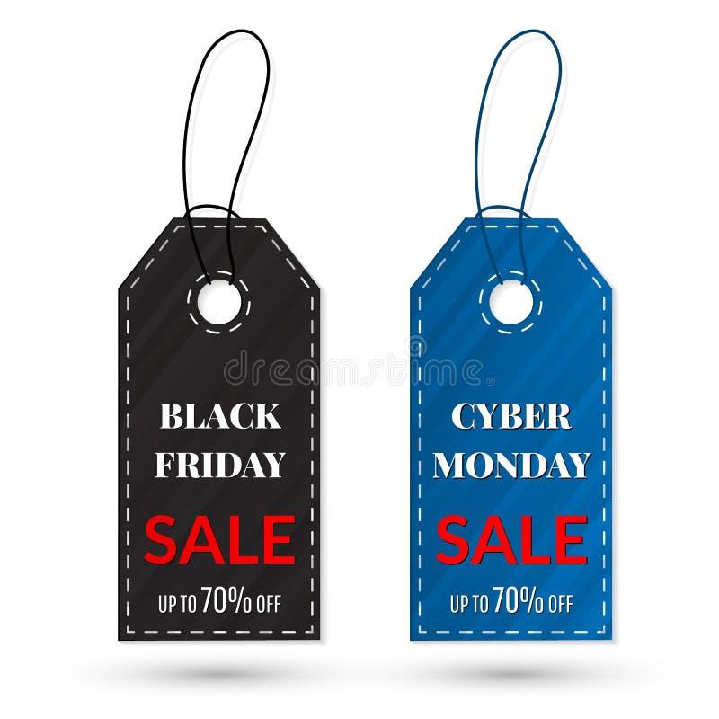 Black Friday e etiqueta das vendas de segunda-feira do Cyber vetor, agrupado para a edição fácil Venda, disconto, propaganda, pre ilustração royalty free