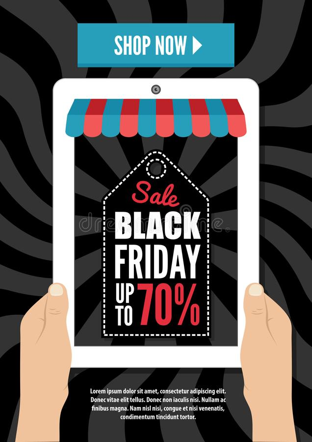 Black Friday, Electronic commerce design. Two hands holding tablet, computer device. vector illustration
