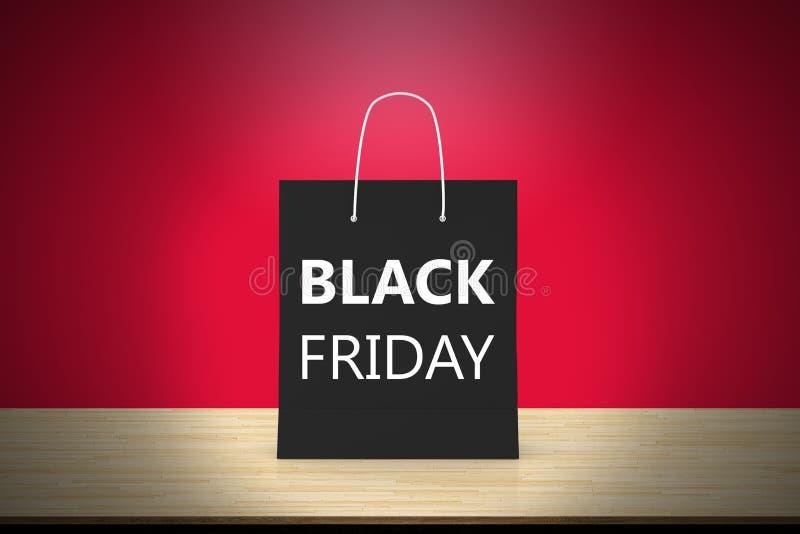 Black Friday empaquettent le panier sur la table en bois avec le contexte rouge photo stock