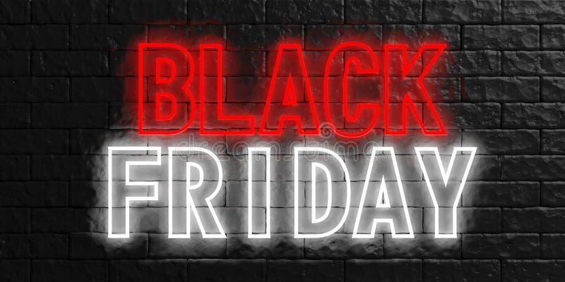 Black Friday en letras de neón rojas y blancas en fondo negro de pared de piedra ilustración 3D ilustración del vector