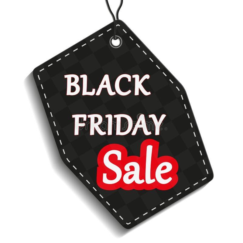 Black Friday, etikett eller prislapp på vit bakgrund, vektorillustration stock illustrationer