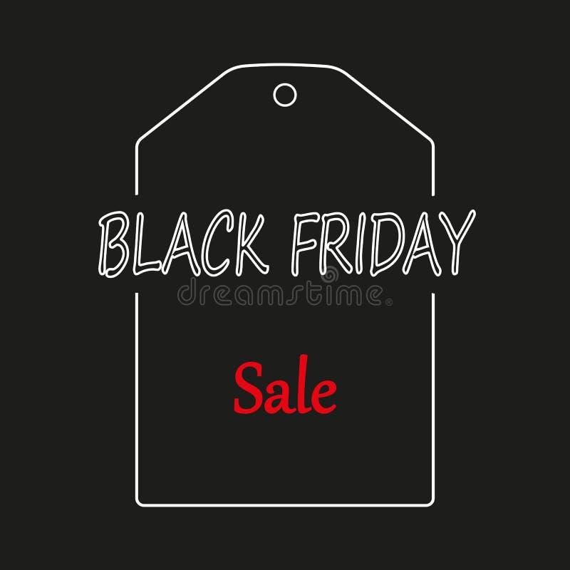 Black Friday, etiqueta o precio en el fondo blanco, ejemplo del vector libre illustration