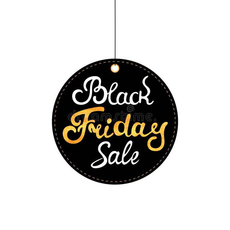 Black Friday etykietka Sprzedaży etykietka Ręka rysujący literowanie z złocistą teksturą ilustracja wektor