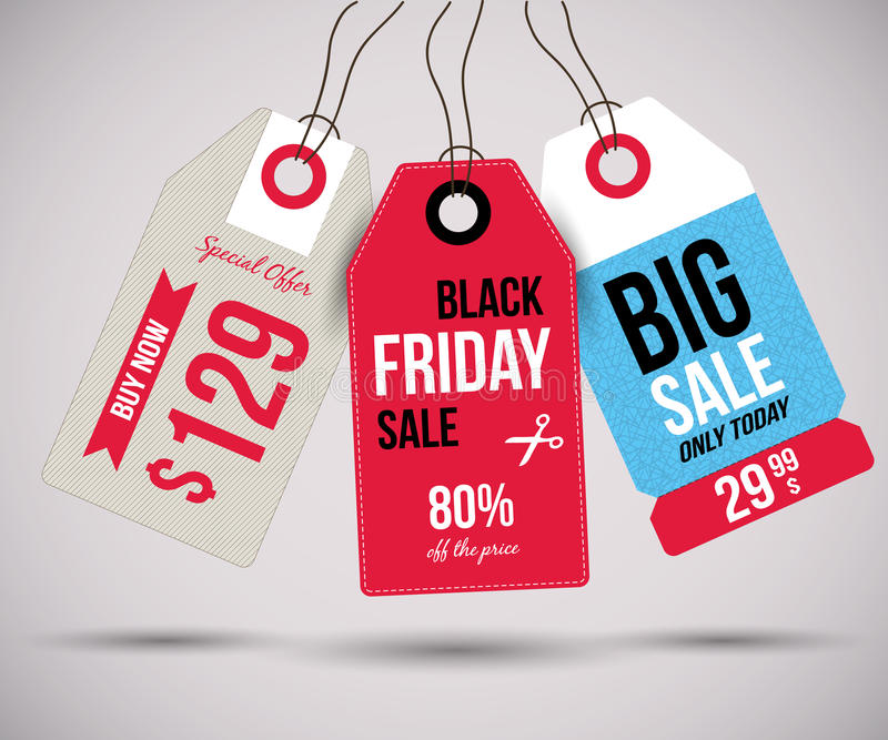 Black Friday etykietki ilustracji
