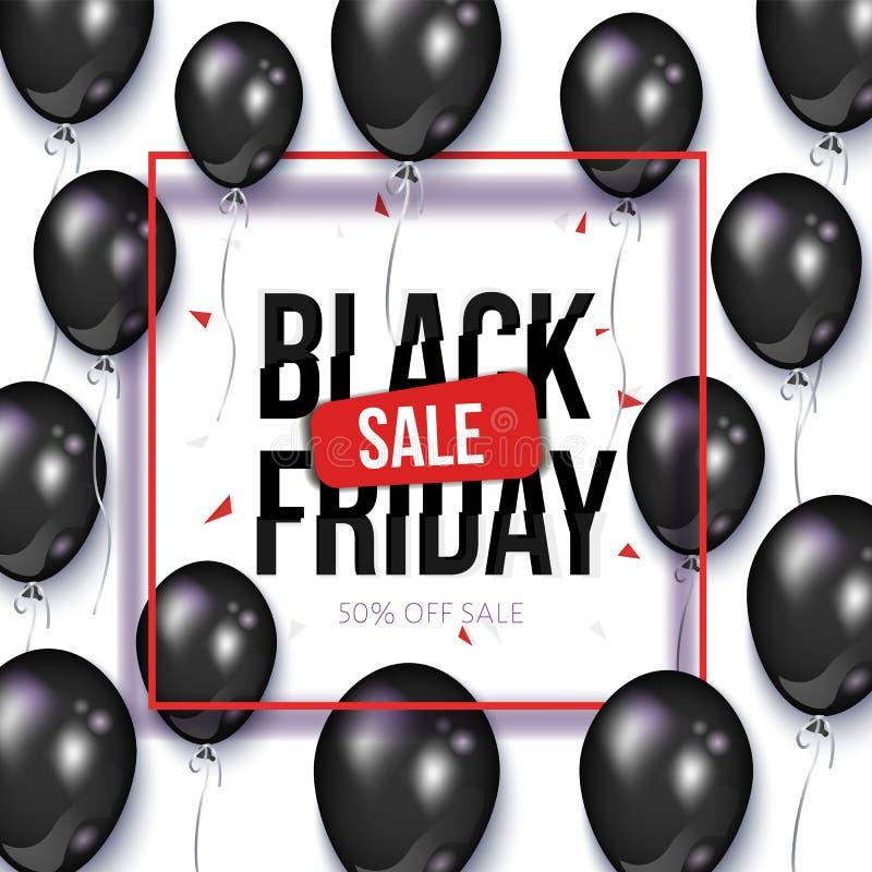 Black Friday försäljningsbaner, reklamblad med ballonger vektor illustrationer