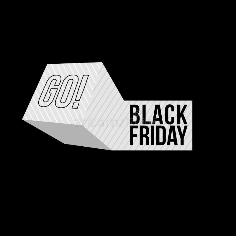 Black Friday försäljningsinskrift på geometriskt objekt Black Friday mall för din baner eller affisch Sale och rabatt vektor illustrationer
