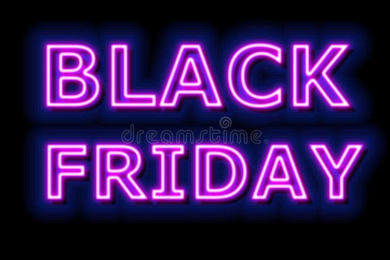 Black Friday försäljningsneon undertecknar in blått på svart bakgrund stock illustrationer