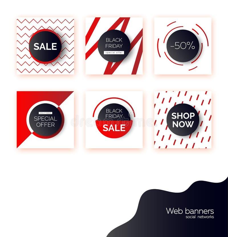 Black Friday-Fahnen, Schablonen für Social Media-Postenförderung Hintergründe mit Textraum, abstrakte Elemente, purpurrot lizenzfreie abbildung