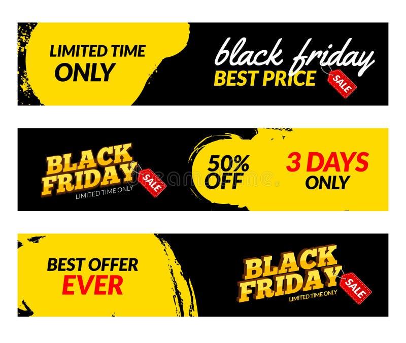 Black Friday-Fahnen Vektor-Verkaufsnetz-Marktgestaltungsschablone Schwarzes Freitag-Angebotrabattkonzept lizenzfreie abbildung