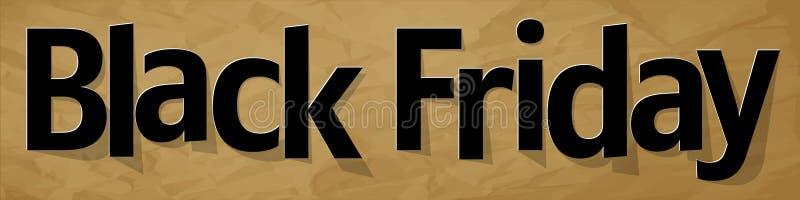 Black Friday-Fahnenschwarzes auf einem zerknitterten braunen Papierhintergrund vektor abbildung