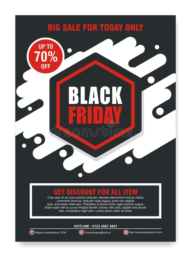 Black Friday-Flieger, Fahne, Plakat mit modernem Design lizenzfreie abbildung