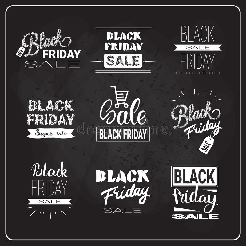 Black Friday Flyers Set Holiday Sale Label Collection Shopping Discount Banners Concept. Vector Illustration stock illustration