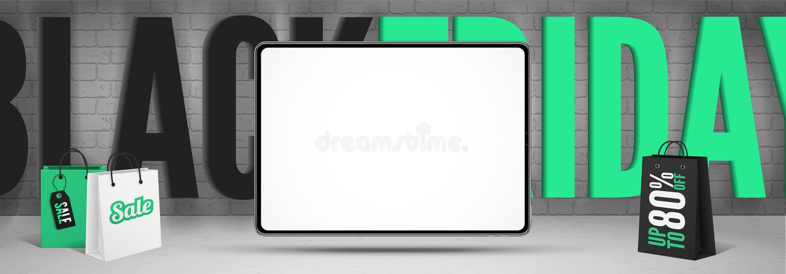 Black friday gadgets sale banner template with tablet blank screen. Black friday gadgets sale banner template. Realistic tablet mockup with blank screen and text vector illustration