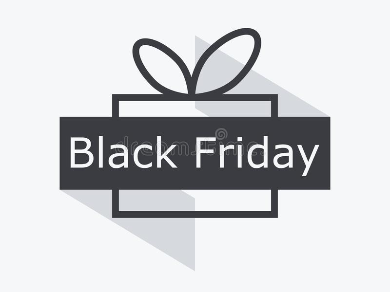 Black friday. Gift box with ribbon isolated on white background. Big discounts and sales. Vector vector illustration