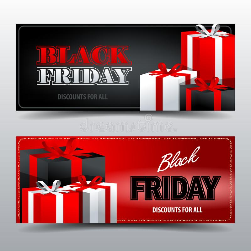 Black Friday gift card template stock photos