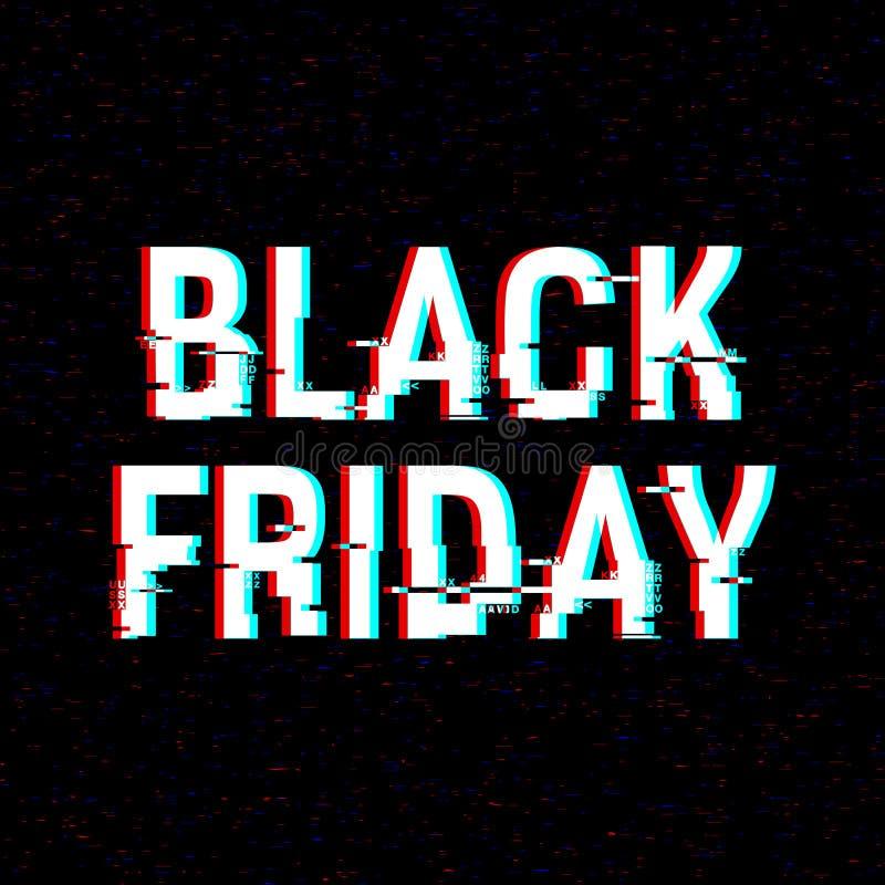 Black Friday-glitch tekst Anaglyph 3D effect Technologische retro achtergrond Online het winkelen concept Verkoop, elektronische  stock illustratie