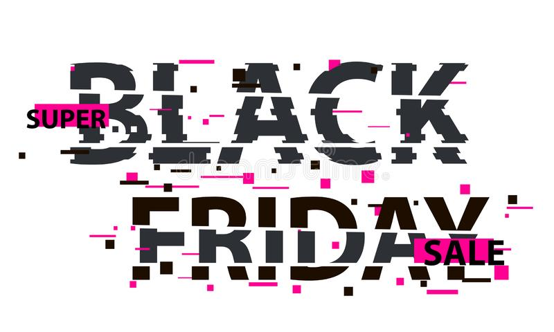 Black Friday glitch text. Anaglyph 3D effect. Technological retro background. Online shopping concept. Sale, e-commerce, retailing. Discount theme. Vector stock illustration