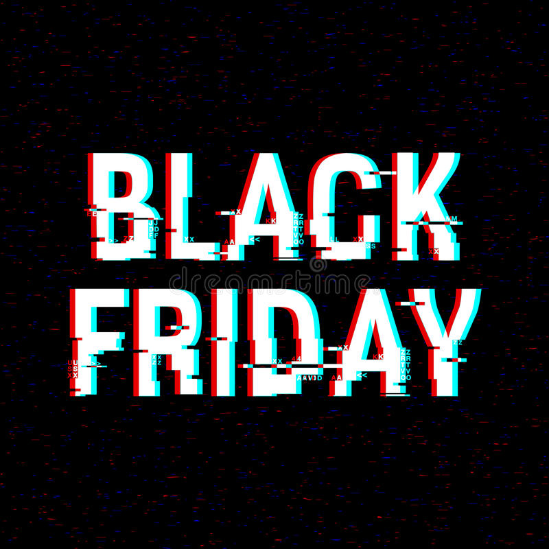 Black Friday glitch text. Anaglyph 3D effect. Technological retro background. Online shopping concept. Sale, e-commerce. Retailing, discount theme. Vector stock illustration