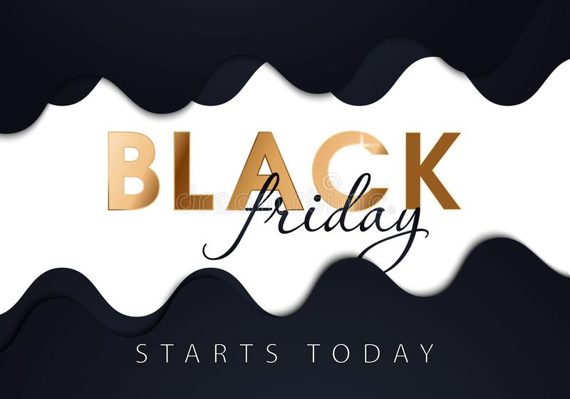 Black Friday Glossy Gold Future Space Style Shopping Creative Concept Logo and May Profit Be with You Lettering - Golden on Black. Black Friday Glossy Gold stock illustration