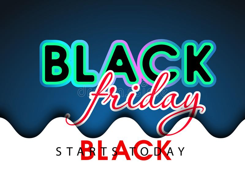 Black Friday Glossy Gold Future Space Style Shopping Creative Concept Logo and May Profit Be with You Lettering - red on Black. Black Friday Glossy Gold Future royalty free illustration