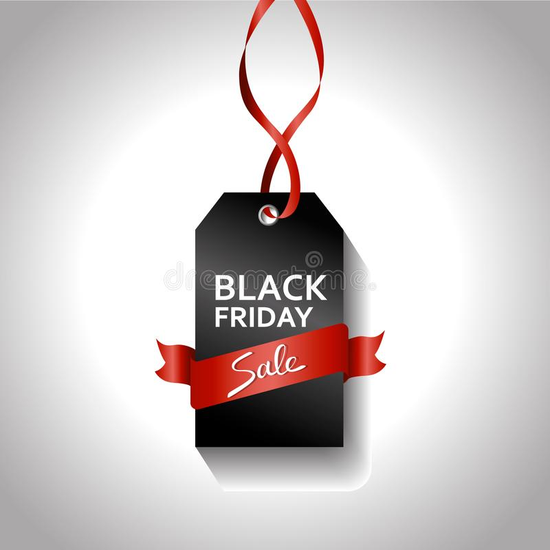 Black friday gradient tag with red ribbon. Sale concept. big offer sign. On gray background royalty free illustration