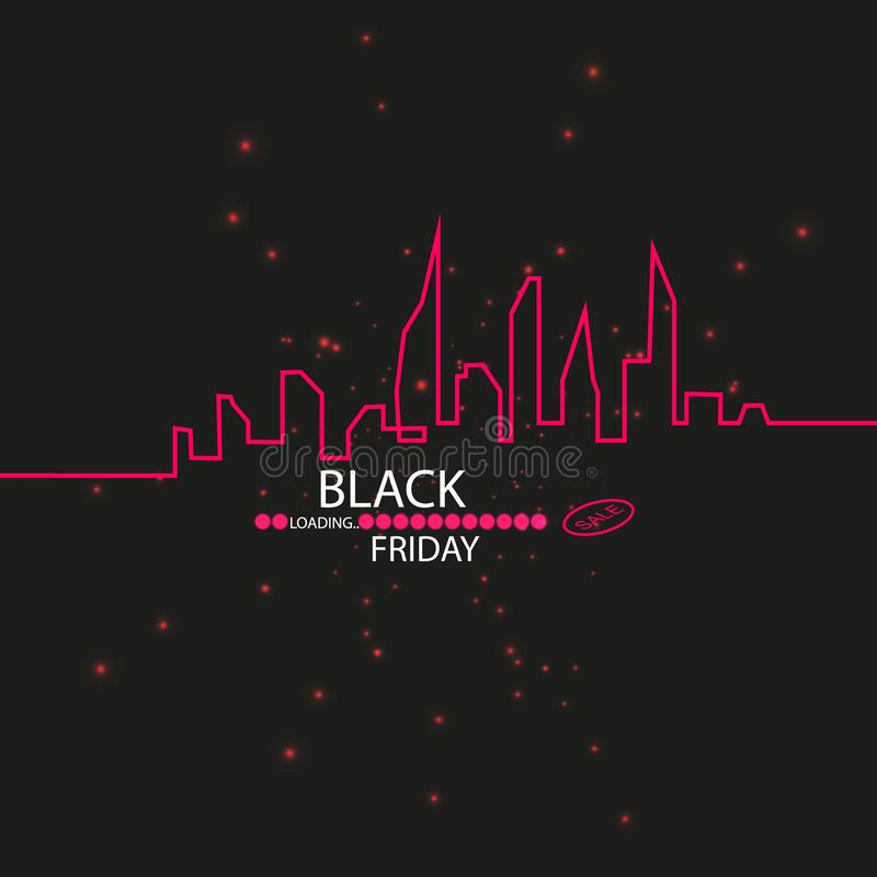 Black Friday. Great sale. Text and banner on the background of a large red flash with luminous dust. Cover for the. Project. Vector illustration. Progress stock illustration