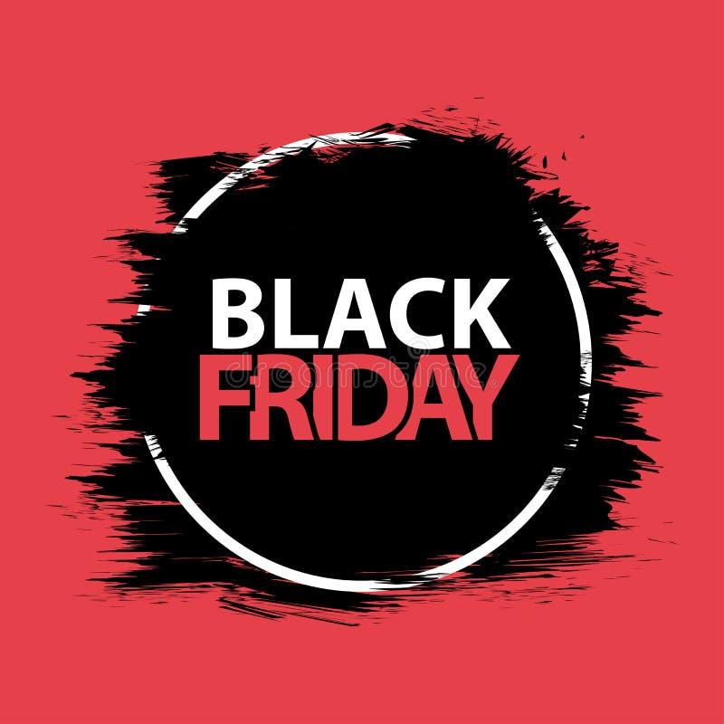Black Friday. Grunge banner, red, black and white colors. Brush stroke and square frame. Vector. Illustration royalty free illustration