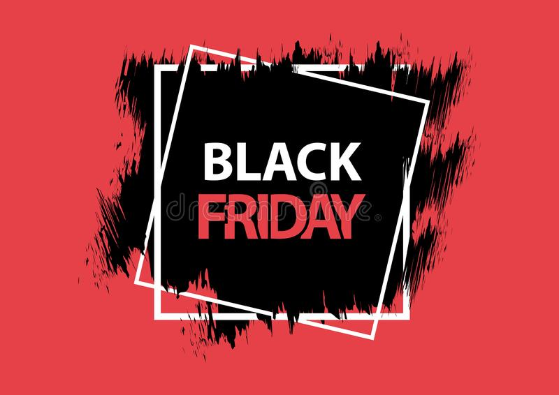 Black Friday. Grunge square banner, red, black and white colors. Brush stroke and square frame. Vector. Illustration royalty free illustration