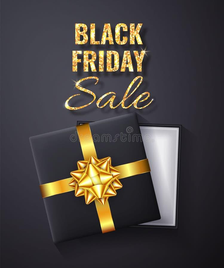 Black Friday guld- Sale blänker gnistrandet Öppen svart gåvaask med guld- bästa sikt för pilbåge och för band också vektor för co royaltyfri illustrationer