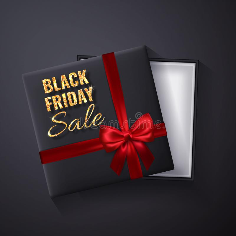 Black Friday guld- Sale blänker gnistrandet Öppen svart gåvaask med röd bästa sikt för pilbåge och för band också vektor för core stock illustrationer