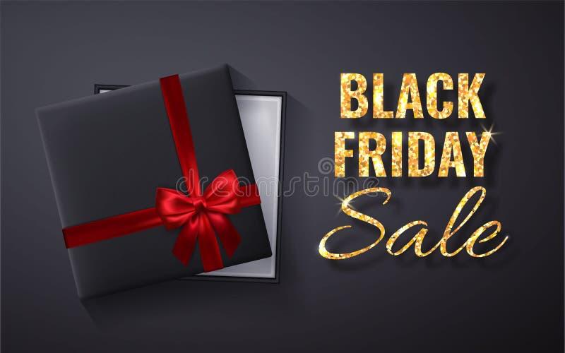 Black Friday guld- Sale blänker gnistrandet Öppen svart gåvaask med röd bästa sikt för pilbåge och för band också vektor för core vektor illustrationer