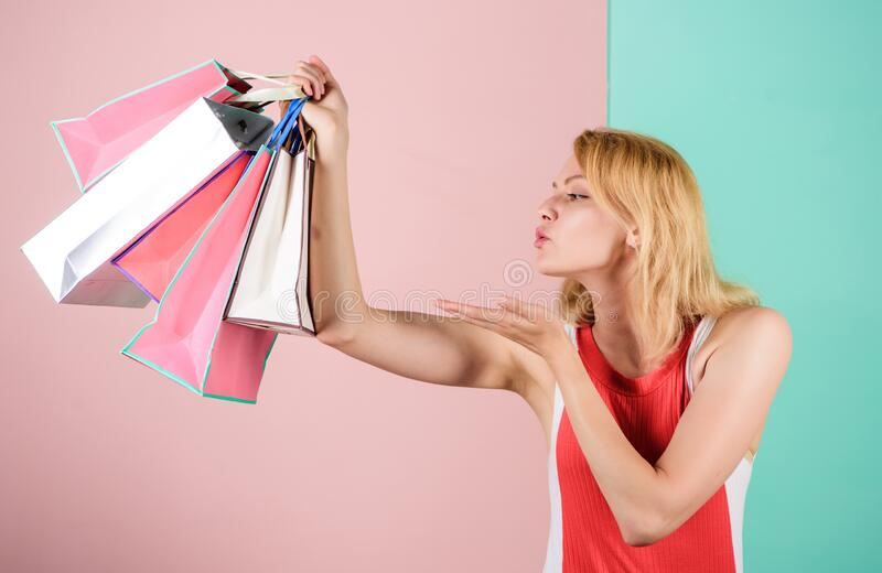 Black friday. Happy shopping day. Retail and consumerism. In love with her purchase. Save money. Easy way of shopping royalty free stock photo