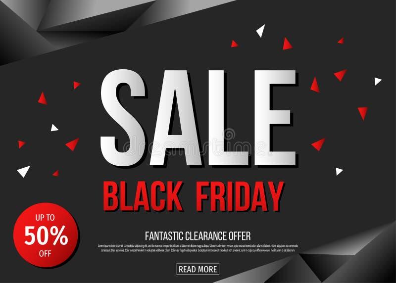 Black Friday-het malplaatje van de verkoopaffiche op veelhoekige achtergrond stock illustratie