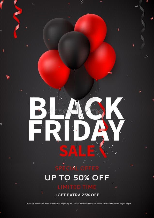 Black Friday-het malplaatje van de verkoopvlieger stock illustratie