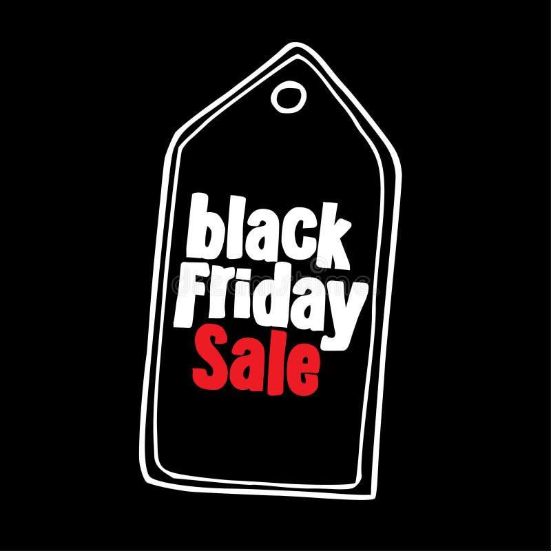 Black Friday-het malplaatje van het verkoopontwerp, reclameaffiche Het hand getrokken etiket van de giftmarkering De banner van h stock illustratie