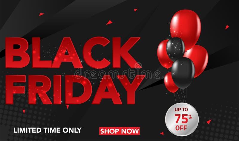 Black Friday-het malplaatjeachtergrond van de Verkoopbanner met rode en zwarte impulsen en conffeti Speciale aanbieding eind van  royalty-vrije illustratie