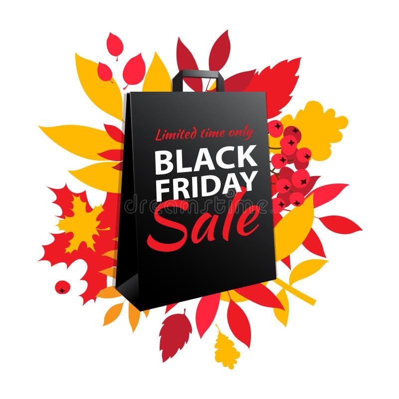Black Friday-het ontwerp van de verkoopinschrijving De bladerendocument van de de herfstdaling zak royalty-vrije illustratie