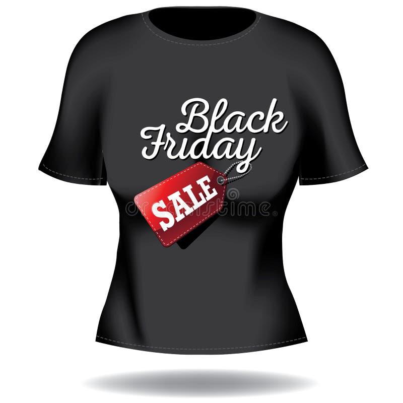 Black Friday-het T-stuk van de vrouw op wit vector illustratie