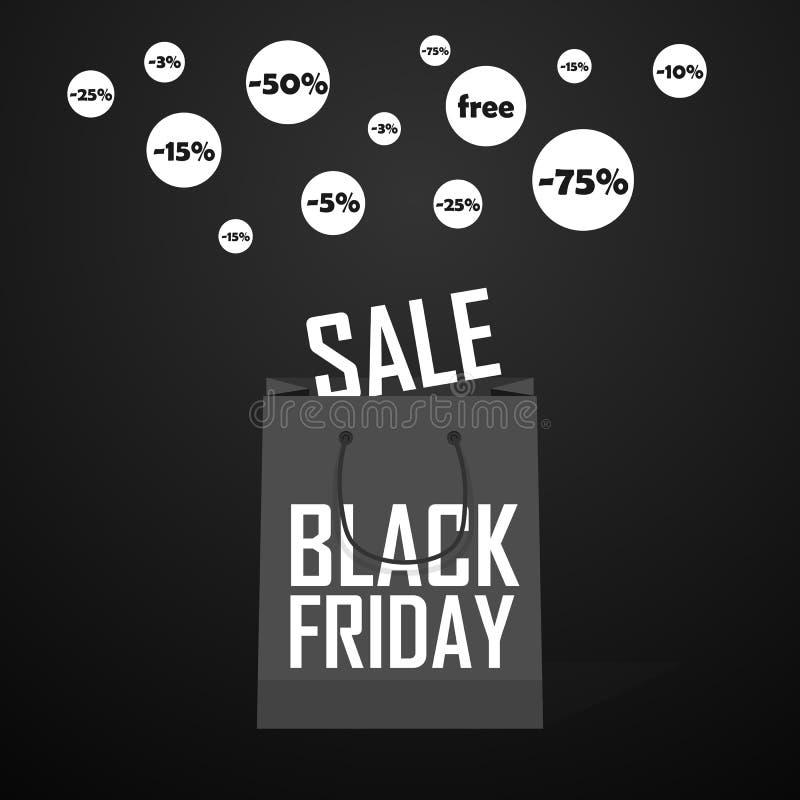 Black Friday-het winkelen zak en van de verkoopmarkering marketing malplaatje vector illustratie