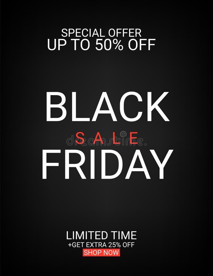 Black Friday-inschrijving op abstracte inktvlekken voor verkoop en korting, malplaatje voor uw banner of affiche stock illustratie