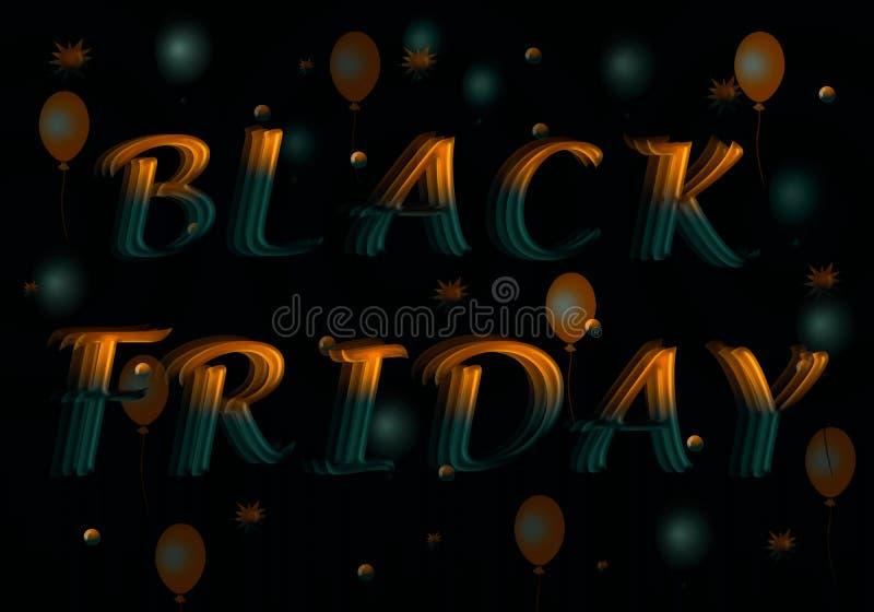 Black Friday ist eine Aufschrift von den gelbgrünen Buchstaben lizenzfreie abbildung