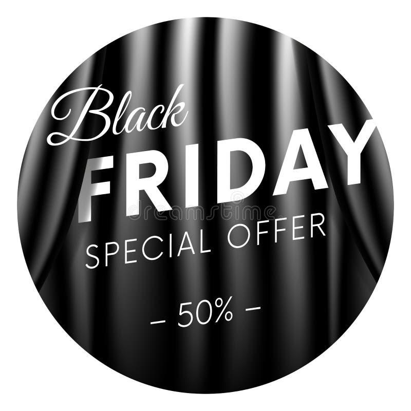 Black Friday klistermärke eller baner Specialt erbjudande femtio av procent Mörkret utformar Realistisk svart gardinbakgrund Vekt vektor illustrationer