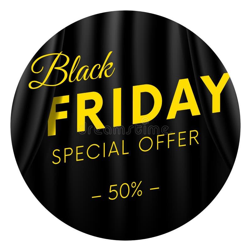 Black Friday klistermärke eller baner Specialt erbjudande femtio av procent Mörkret utformar Realistisk svart gardinbakgrund Vekt royaltyfri illustrationer