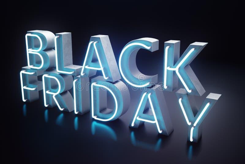 Black Friday - la vente la plus prévue de l'année Bannière 3D bleue au néon Remises grandes Seulement une fois par an, maximum illustration de vecteur